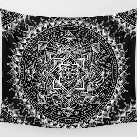 Black And White Room Tapestry Google Search Blue Wall Tapestry Tapestry Dark Blue Walls