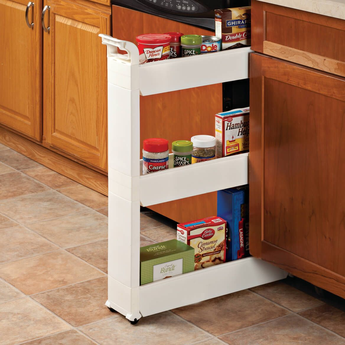 Miles Kimball Slim Storage Cart Turns Tight Spots Into Generous Storage Space A Prime Addition For Kitchens Bathroo Storage Cart Kitchen Storage Tiny Kitchen