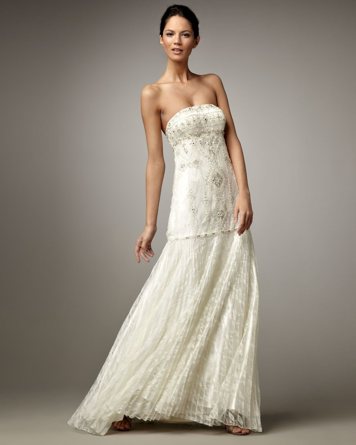 Drop Waist Diamond White Strapless Wedding Dress With: HOT Sue Wong Embellished Beaded Strapless Lace Pleated