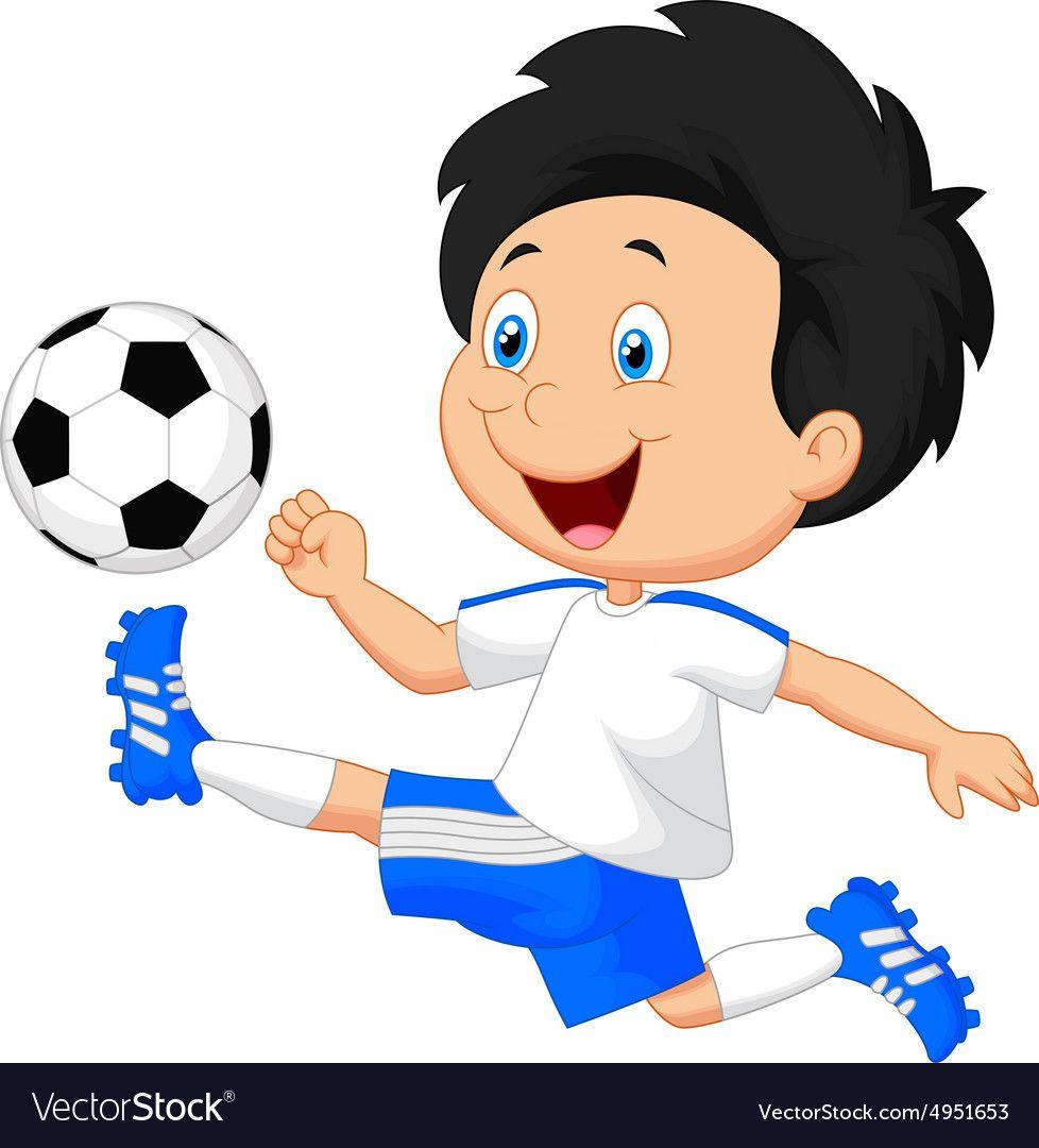 Cartoon Boy Playing Football Royalty Free Vector Image Ad Playing Football Cartoon Boy Ad Football Kids Kids Clipart Charity Logos