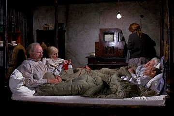 Image result for willy wonka and the chocolate factory grandparents in bed