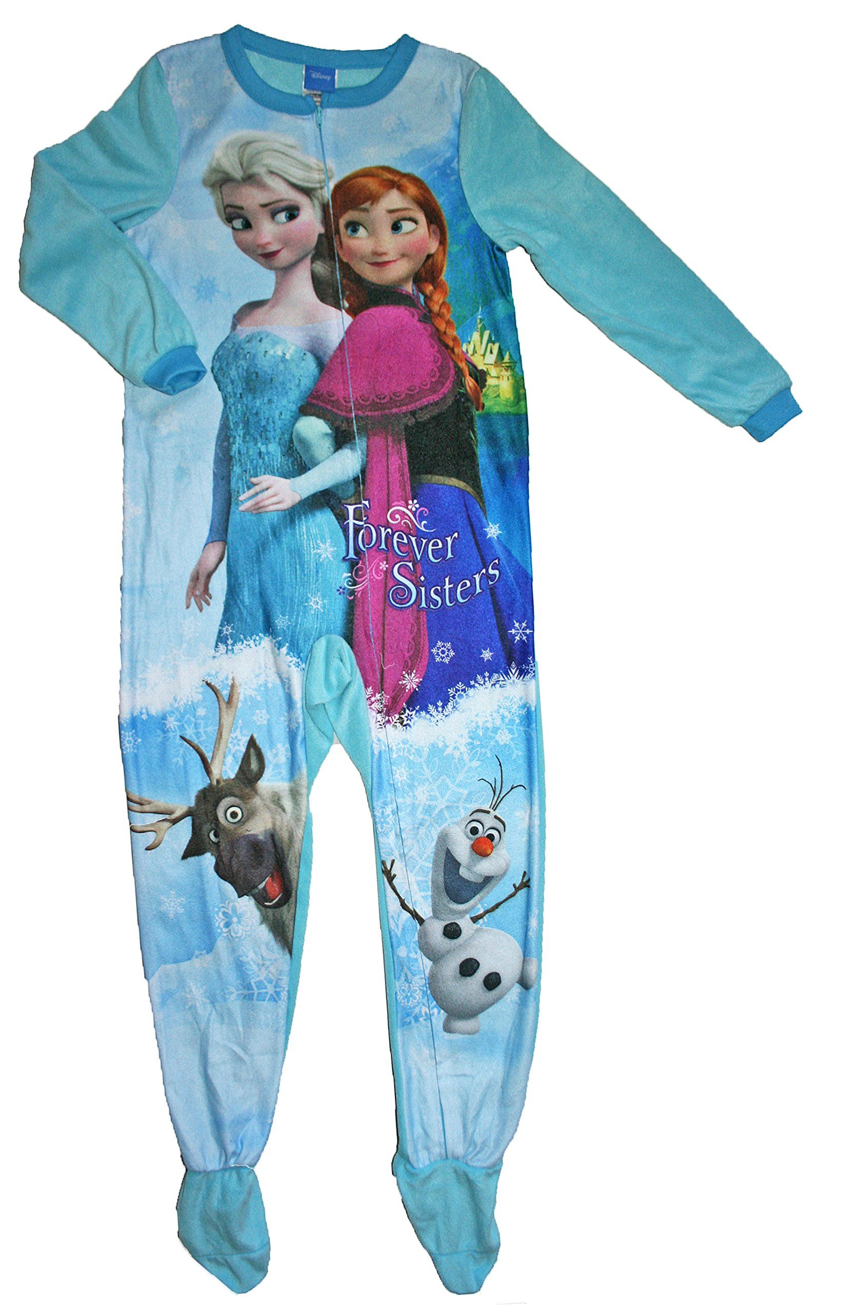 4a2813600a Disney Little Girls Frozen Footed Blanket Sleeper Pajama