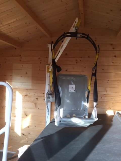 Hot Tub Hoist On Wall Post For Disabled Spa Access Installed In The Uk By Dolphin Mobility Indoor Jacuzzi Spa Room Decor Jacuzzi
