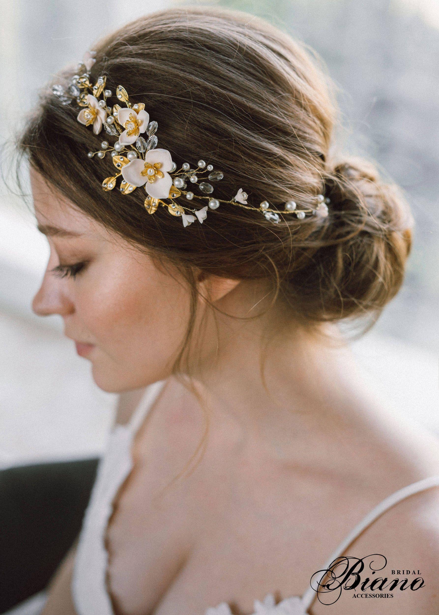 Wedding tiara and crowns Wedding headband Gold Bridal headband Bridal tiara headband Wedding hair piece Wedding hair vine Bridal hair band