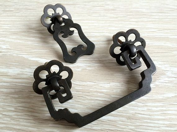 2 75 Drawer Pulls Handles Dresser Pull Drop Bail Antique Bronze Black Copper Rustic Cabinet Handle