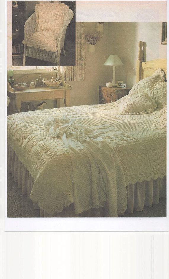 Knitted Bedspread Knitted Bed Throw Aran Knitting Pattern | tendidos ...