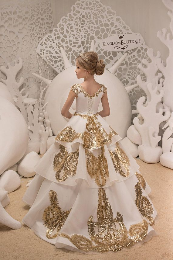 606e4efe2 Lace Ivory and Gold Flower Girl Dress - Birthday Bridesmaid Wedding Party  Holiday Ivory and Gold Lac