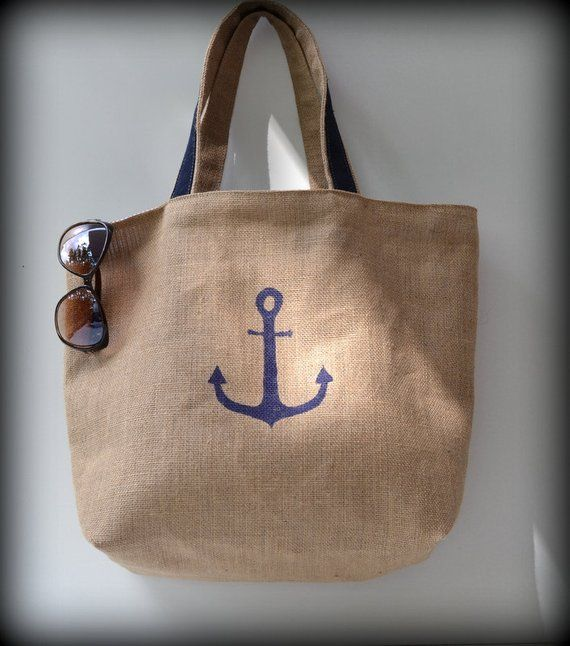 ab38622d689 Navy Blue burlap beach bag, Tote Bag, big bag, Women bag, Mens bag ...