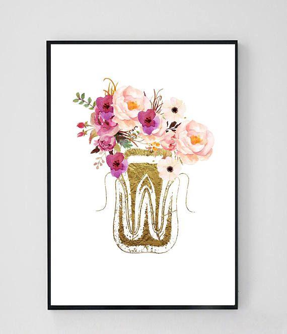 Dental Art Printable, Dentist Gift, Dentist Office Decor, Tooth Art ...