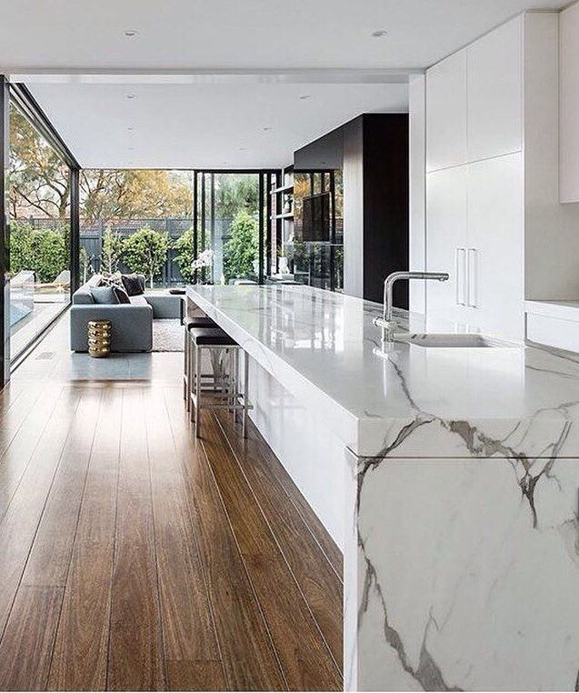 "Mood Board Tool on Instagram: ""What a beautiful marble bench in the kitchen at the Curva House by @lsa_architects � . . #kitcheninspo #kitchendesign #interiordesign…"""