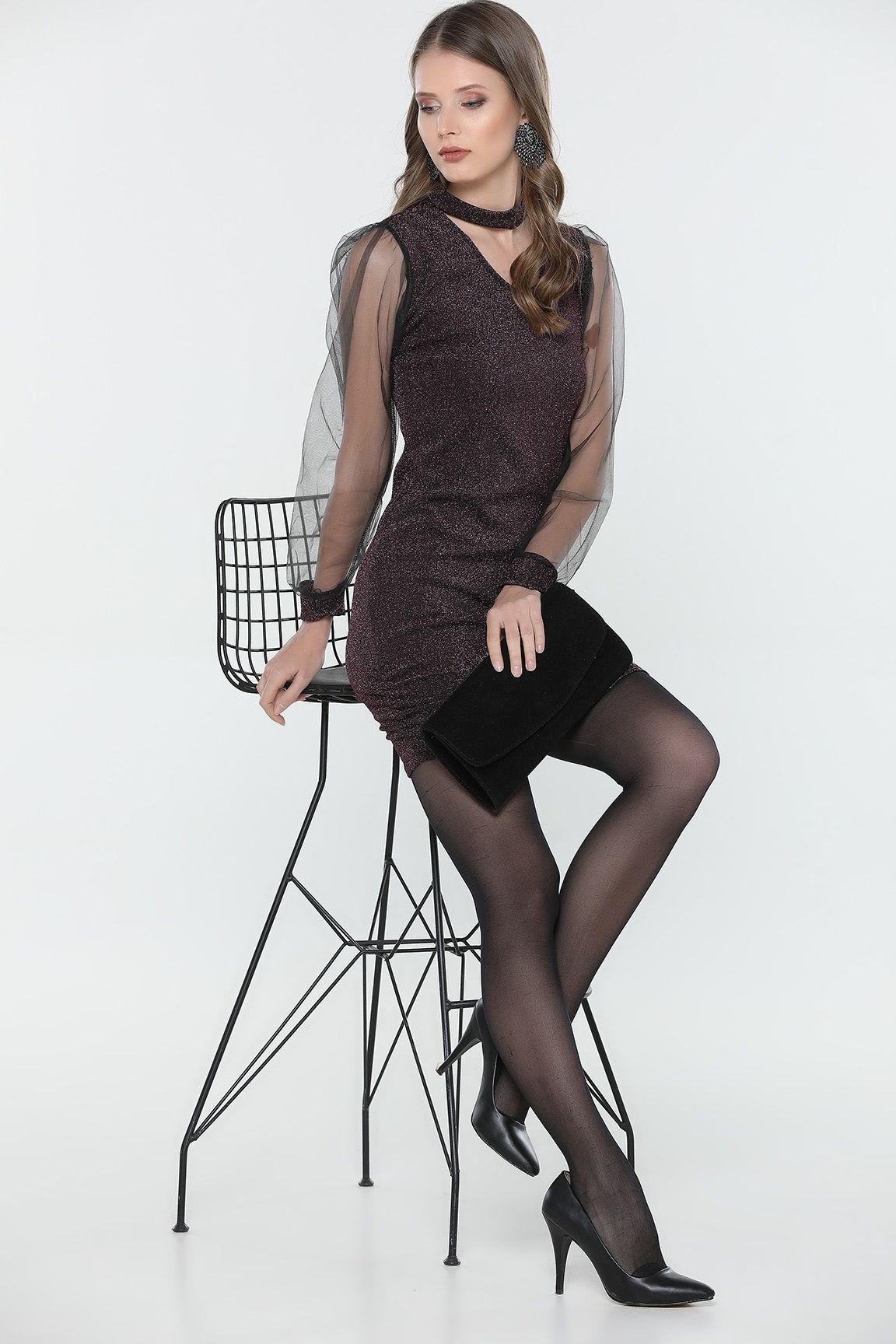 Murdum Kollari Tul Yaka Detayli Elbise Elbise Moda Stilleri Elbise Modelleri