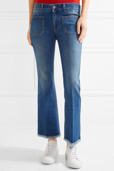 Stella Mccartney Woman Cropped Frayed Mid-rise Flared Jeans Mid Denim Size 29 Stella McCartney Cheap Clearance Sale Manchester Sale Footaction T3ChQ