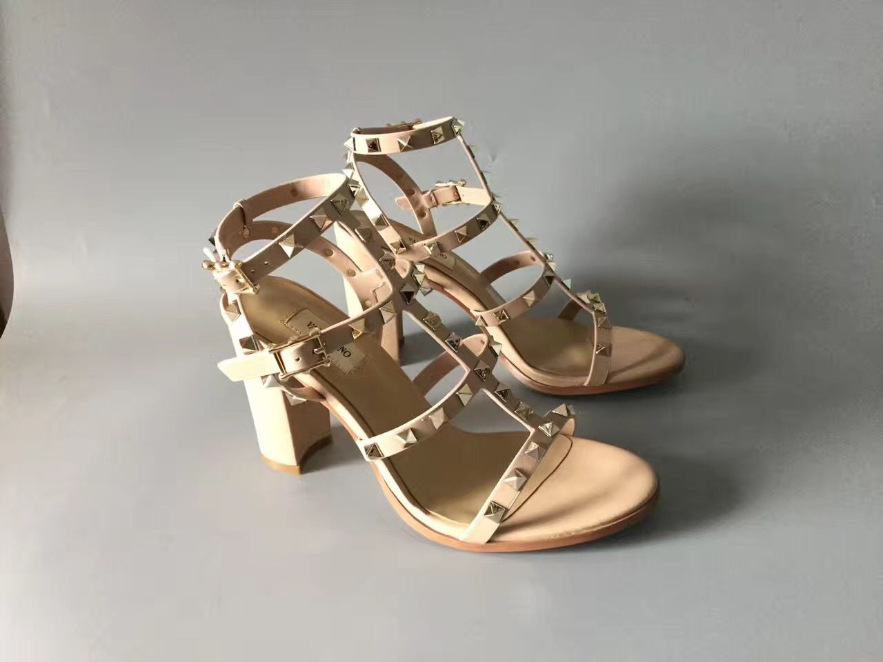 Shop Luxury Valentino Nero Rockstud Leather High-Heel