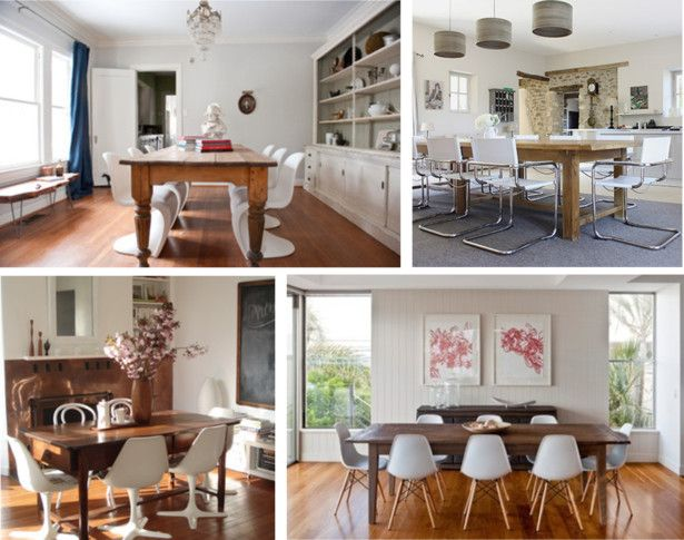 Antique Table With Modern Chairs Inviting To Everyone Young And