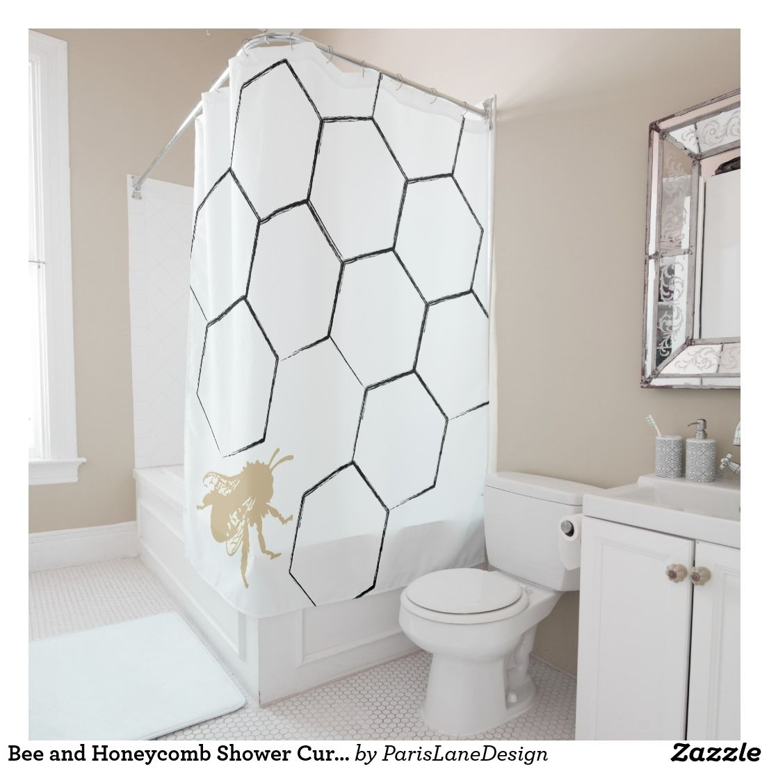 Bee And Honeycomb Shower Curtain New Bathroom Ideas Bee Shower