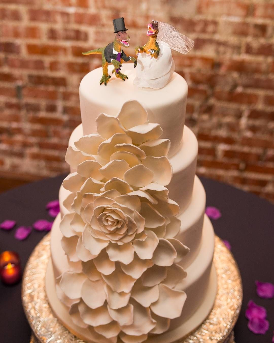 Elegant Cake With Gint White Petals Raptor Bride And Groom Wedding Toppers