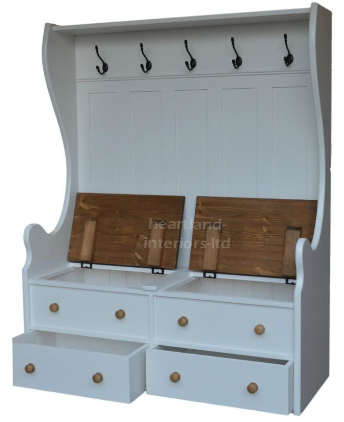 Exceptionnel Solid Pine Monks Bench, 5ft Tall, White Painted Storage Seat With Coat Rack