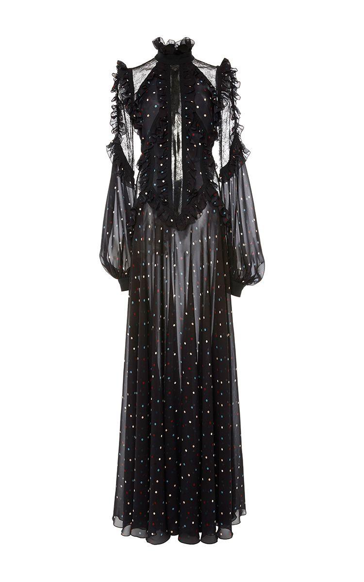 Ruffled sleeve long dress by elie saab for preorder on moda operandi