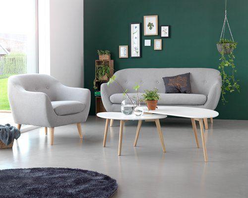 Sohvapöytä LEJRE 48x85cm valkoinen/tammi
