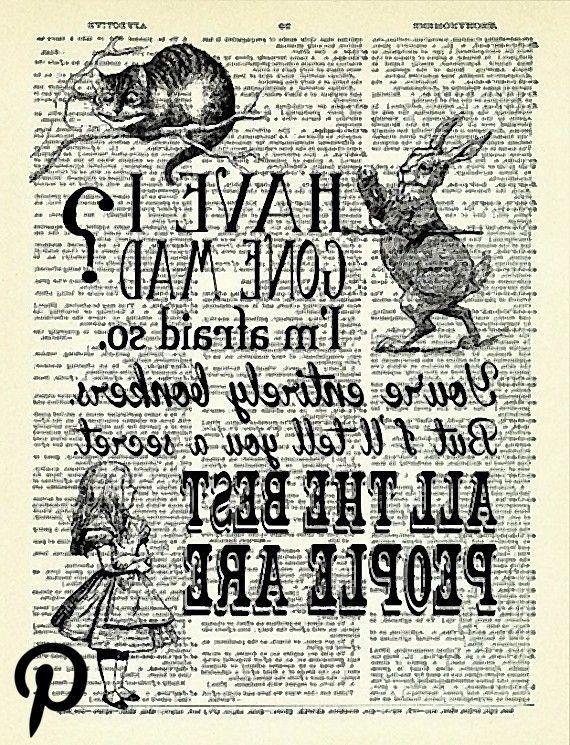 Ich habe Gone Mad Zitate Alice in Wunderland Kunstdruck Vintage Buch Druck Alice POSTER Wörterbuch S Ich habe Gone Mad Zitate Alice in Wunderland Kunstdruck Vintage...