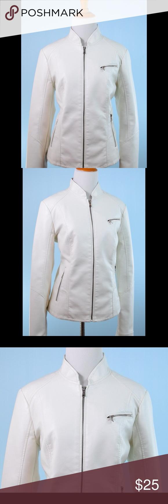 ROZ & ALI off white faux leather jacket Medium (With