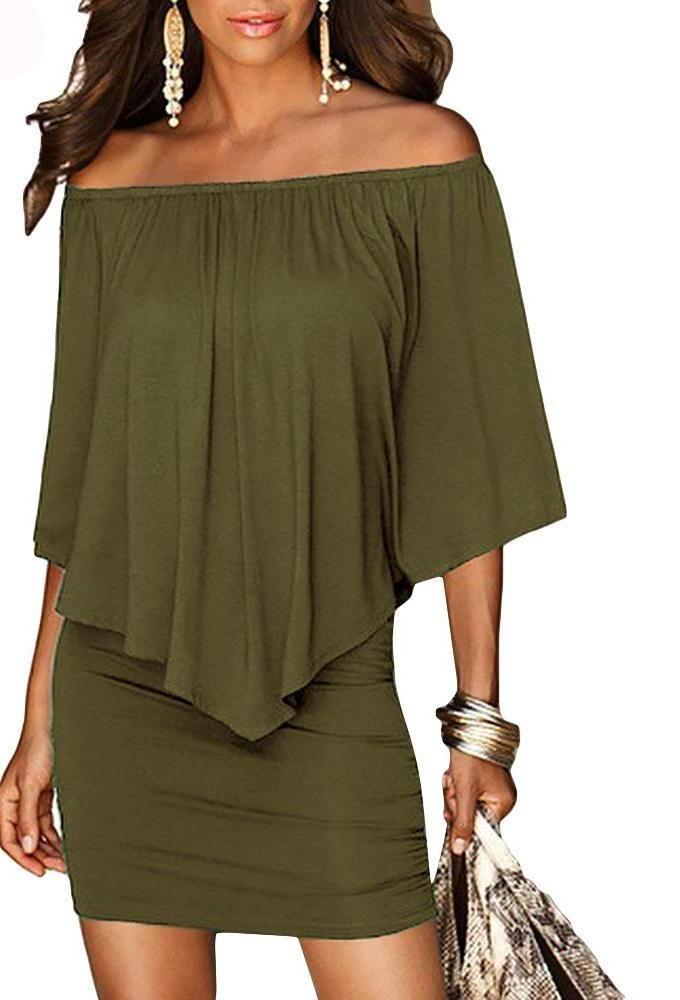 3f3368e8a8d7 Women s mini sexy plain summer dress style Army Green Slash Door with an open  shoulder