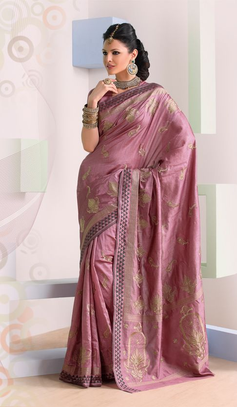 9c6c1cd3bf322 Onion Pink Raw Silk Designer Indian Saree with Attractive Embroidery ...