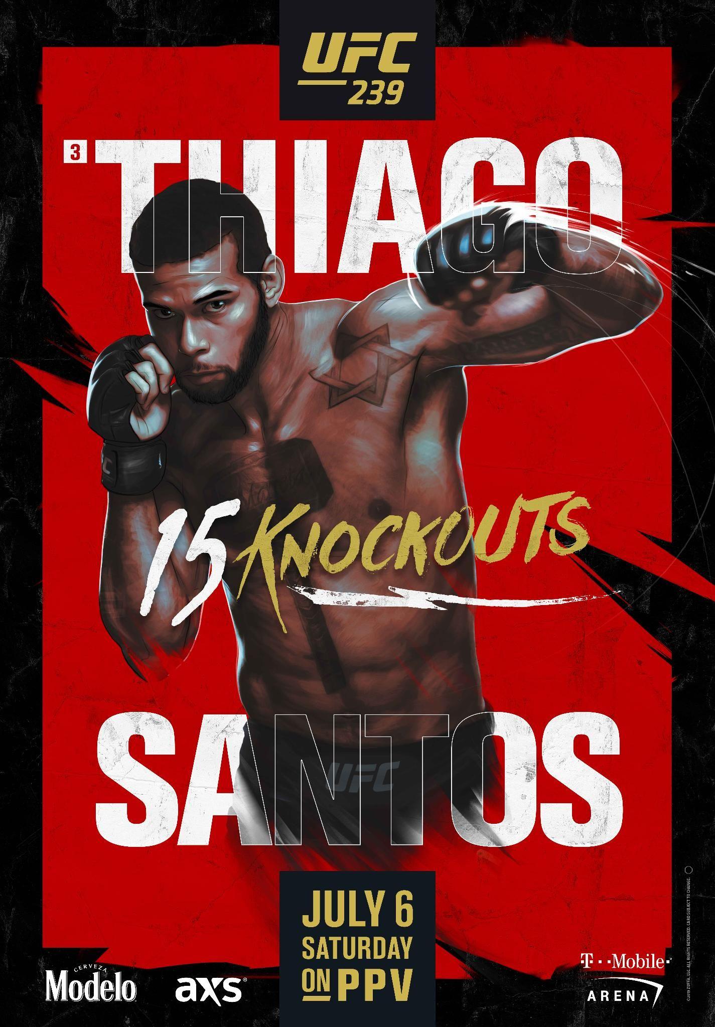 ZA466 UFC 239 Silk Poster Jones VS Santos Nunes VS Holm MMA Event 14x21 24x36