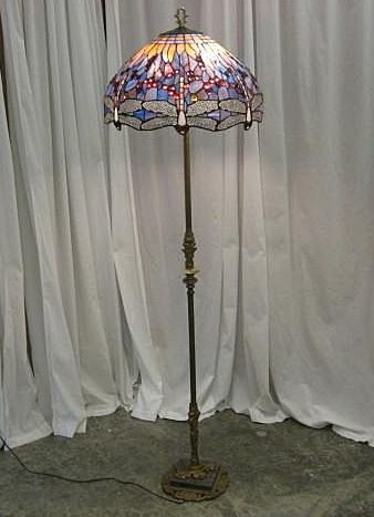 Dragonfly stain glass shade old brass floor lamp dragonfly dragonfly stain glass shade old brass floor lamp mozeypictures Images