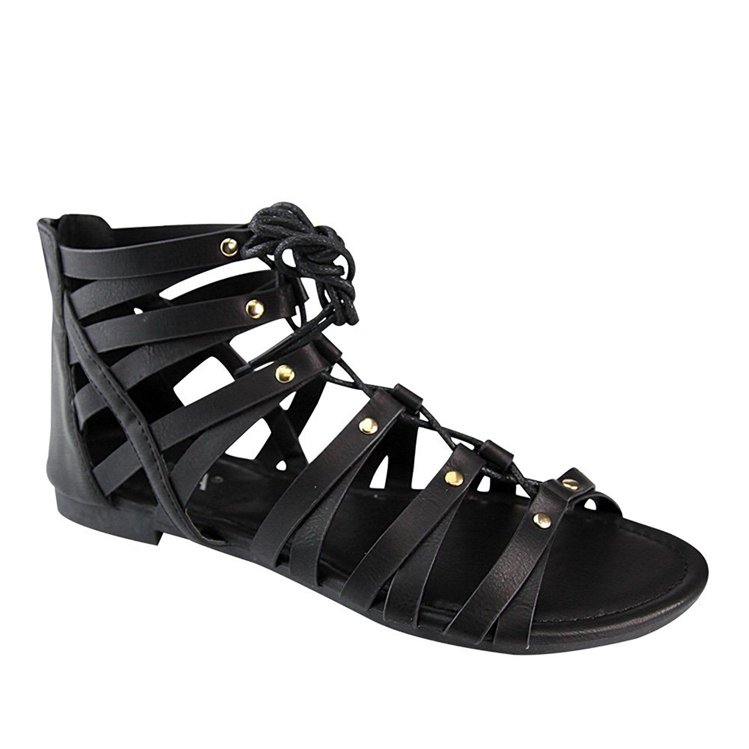 Womens sandals that zip up the back - Anna Brina 10 Women S Studded Strappy Lace Up Back Zipper Gladiator Flat Sandals