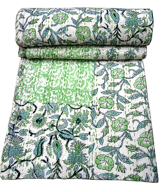 Bedding Cotton Quilted Bedspreads,throws,ralli,bedding Blue Ikat Kantha Quilt Blanket