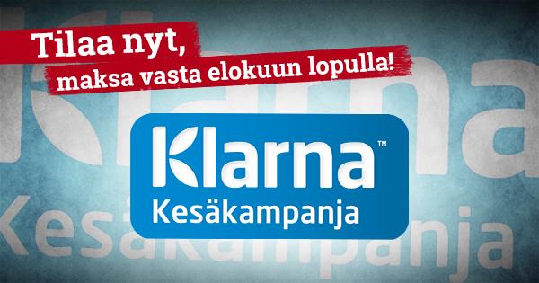 Nyt voit valita maksutavaksi myös Klarna Kesäkampanjan, jossa saat tilauksillesi korotonta maksuaikaa syyskuun alkuun asti! Kun teet tilauksen Klarna Kesäkampanjalla, saat laskun vasta elokuun lopulla ja ainoat kulut ovat 3,95€ perustamismaksu / tilaus. Poimi mieleisesi tuotteet ja laita tilaus tulemaan!