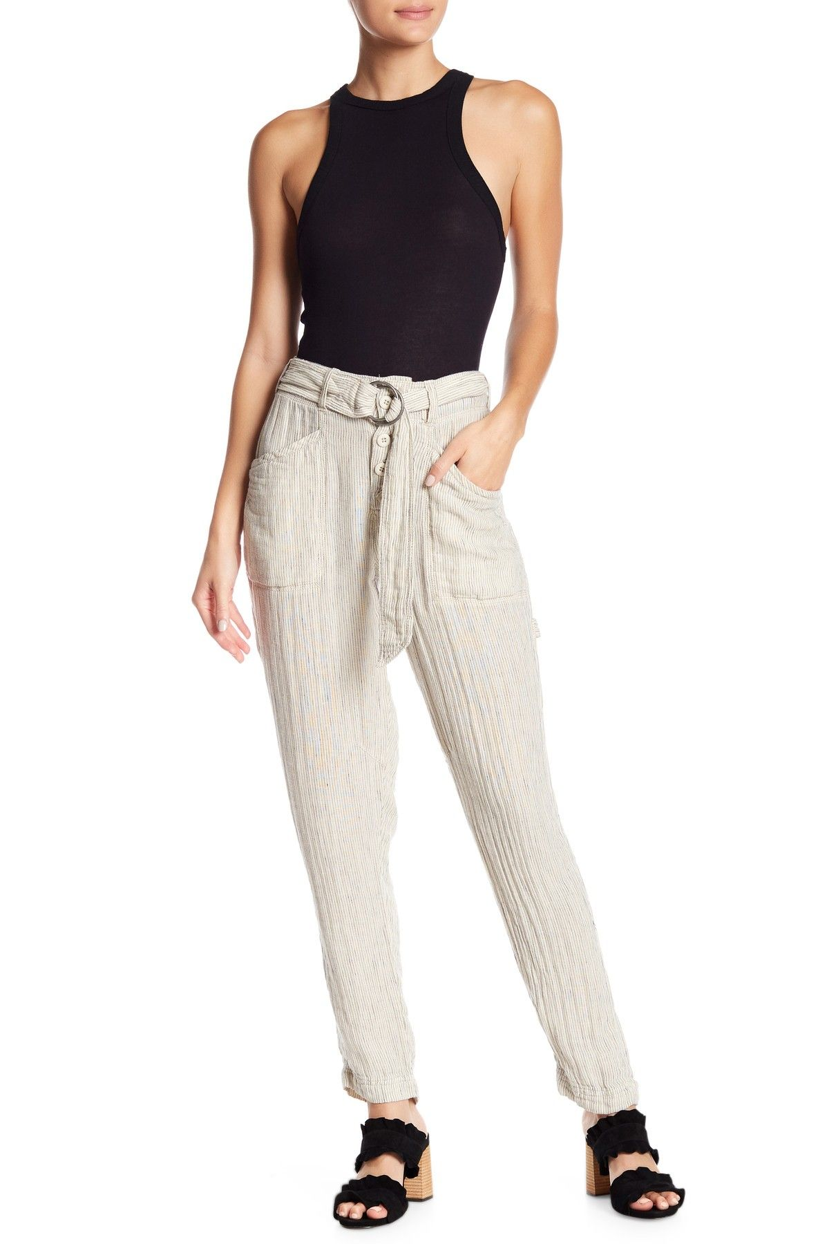 Free People Emerson Striped Belted Utility Pants Pants