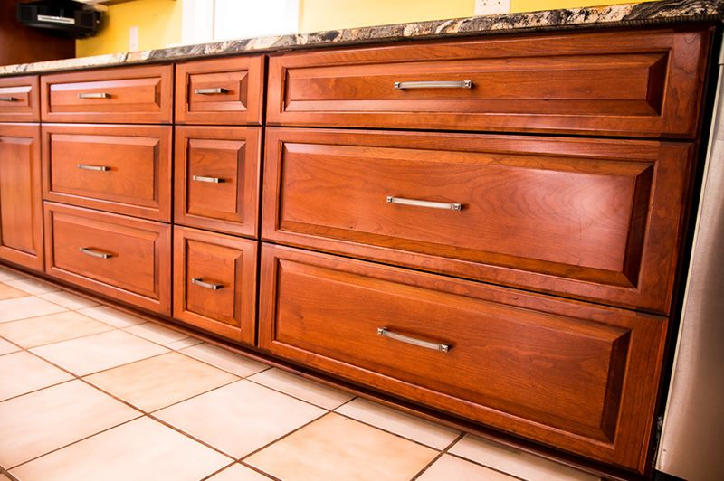 This Kitchen Had Its Cabinets Refaced With Raised Panel