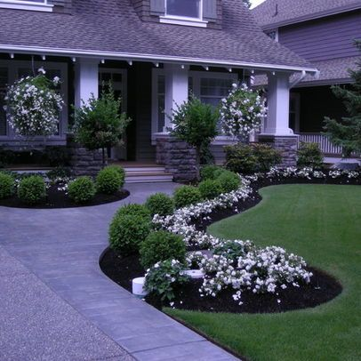 Houzz Com I Love The Extra Width On The Driveway And The Curved Walk To The Front Por Front Yard Landscaping Design Boxwood Landscaping Front Yard Landscaping