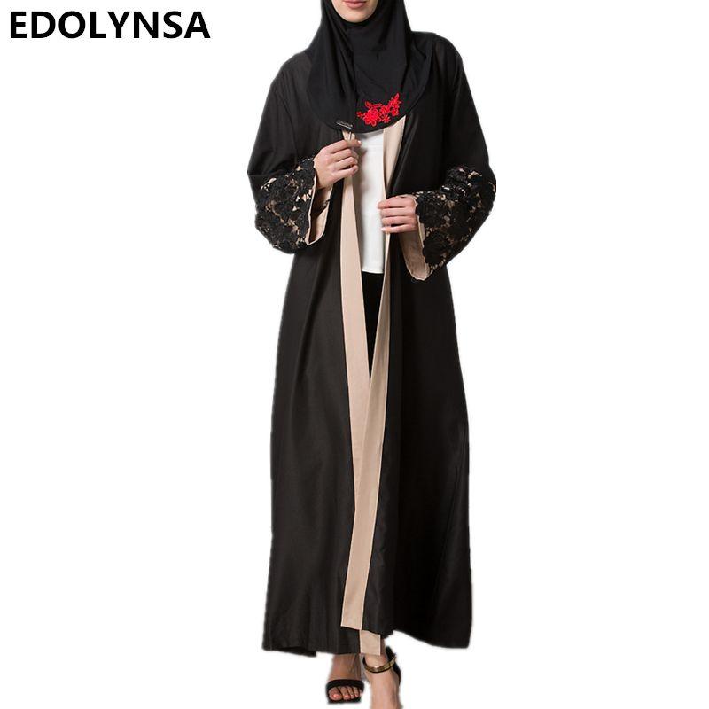 Muslim Fashion 2017 Brand Dress Lace Fabric Kaftan Dress Black Robe Casual Plus  Size Robe Print Long Dresses Robe Dresses  D237  Muslim fashion Nightgowns  ... ace3d18deda0