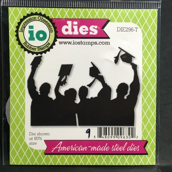 Grads Tossing thin metal craft die set by Impression Obsession contains a group of graduates waving their hats and tassels. Grads Tossing by Impression Obsession is perfect for Graduation cards,scrapbook pages, and open house paper projects. Their approximately sizes are 3.75 x 2.5. It is perfect for graduation handmade  cards,scrapbook pages, and paper crafting projects. It will add beauty to Graduation cards and scrapbook pages.Grads Tossing set by Impression Obsession DIE296-T metal detail di