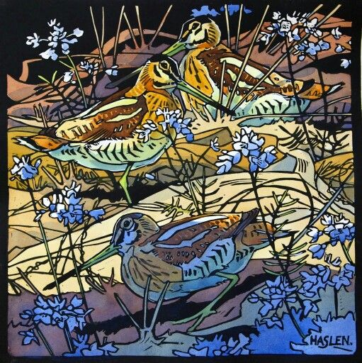 Hand Colored Linocut By Andrew Haslan Snipe