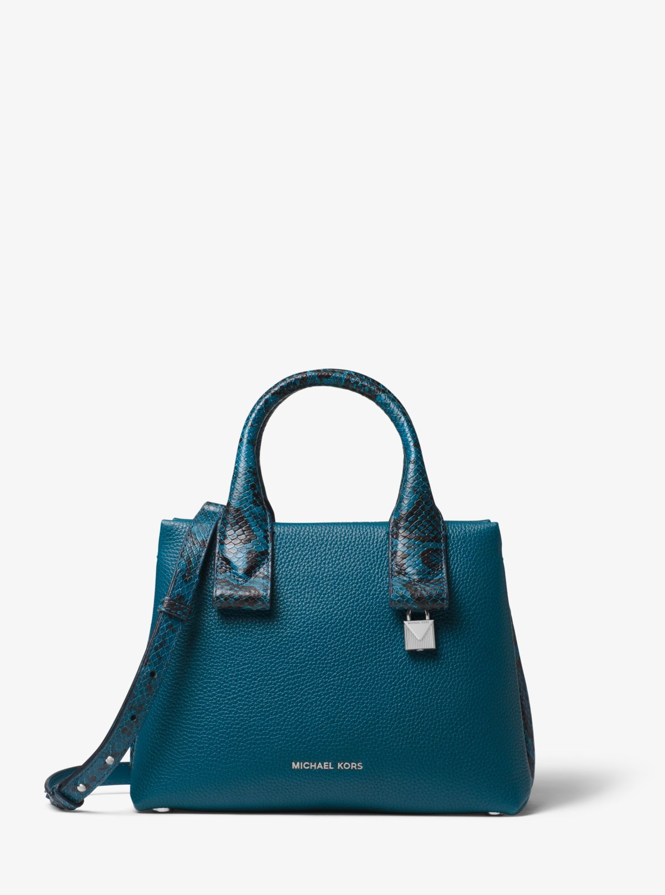 7c0b492c40f514 Michael Michael Kors Rollins Small Snake-Embossed Leather Satchel in Teal