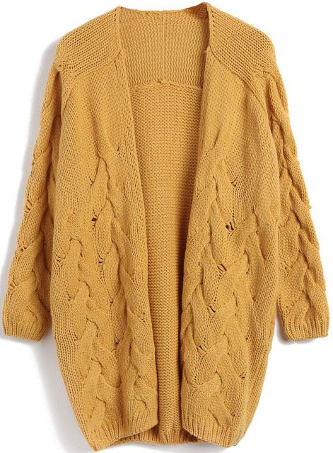 Yellow Long Sleeve Cable Knit Cardigan Sweater US$32.46 | mẫu áo ...
