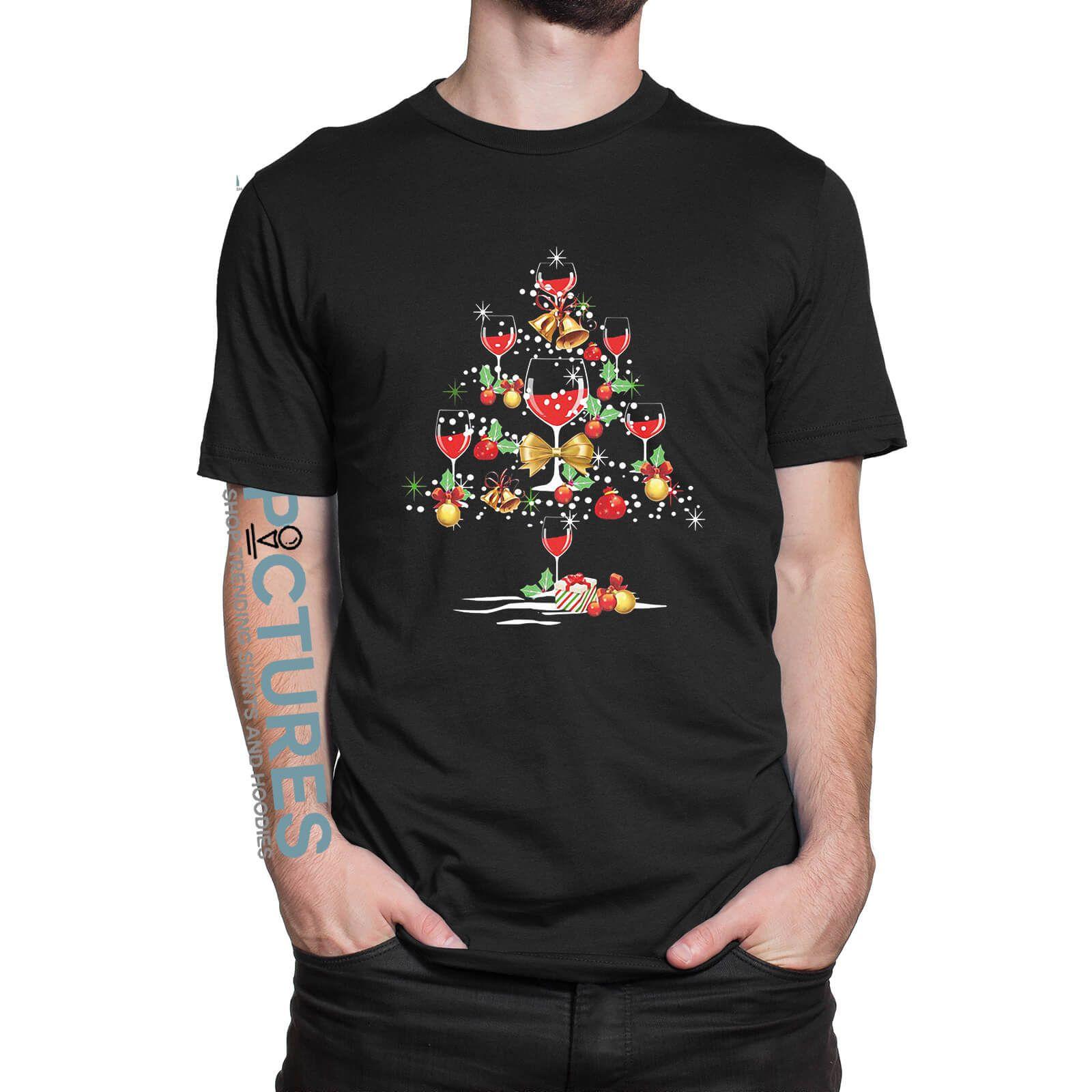 Wine Christmas Tree Shirt.Wine Glass Christmas Tree Shirt Hoodie Sweater V Neck T