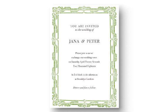 Printable vintage wedding invitation forest by CustomPrintsNYC