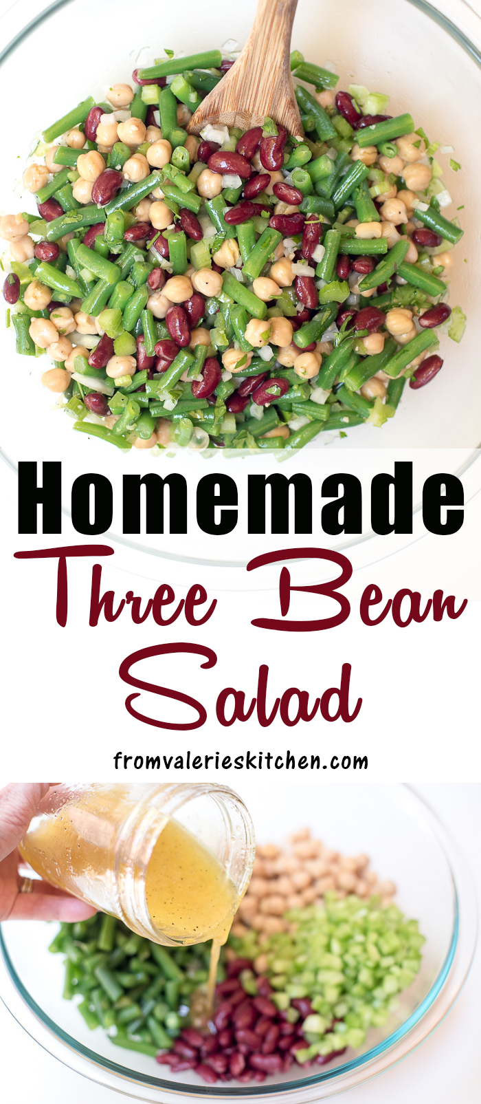 This Fresh Homemade Three Bean Salad Is So Much Tastier Than The Store Bought Variety The Dressing Gives It A Swe In 2020 Three Bean Salad Bean Salad Homemade Recipes