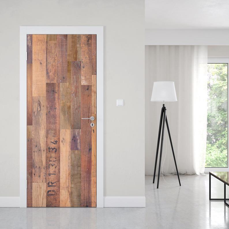 Reclaimed Wood Barn Door Wrap Peel And Stick Wallpaper Etsy In 2020 Wood Barn Door Door Wraps Barn Door
