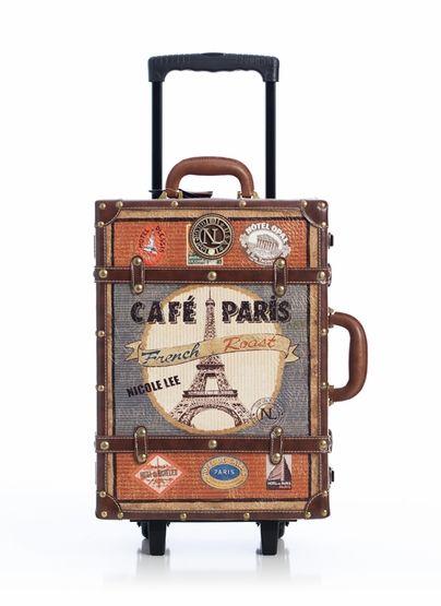 faux leather trim paris design suitcase
