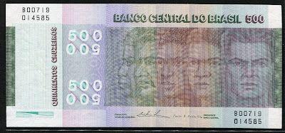Brazilian Banknotes 500 Cruzeiros Brazilian Commemorative Banknote