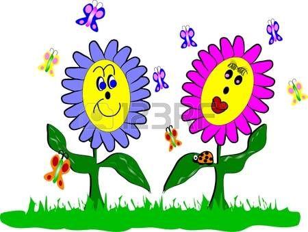 Fleurs de printemps et le style de dessin anim de coccinelle printemps spring flowers - Dessin fleurs printemps ...