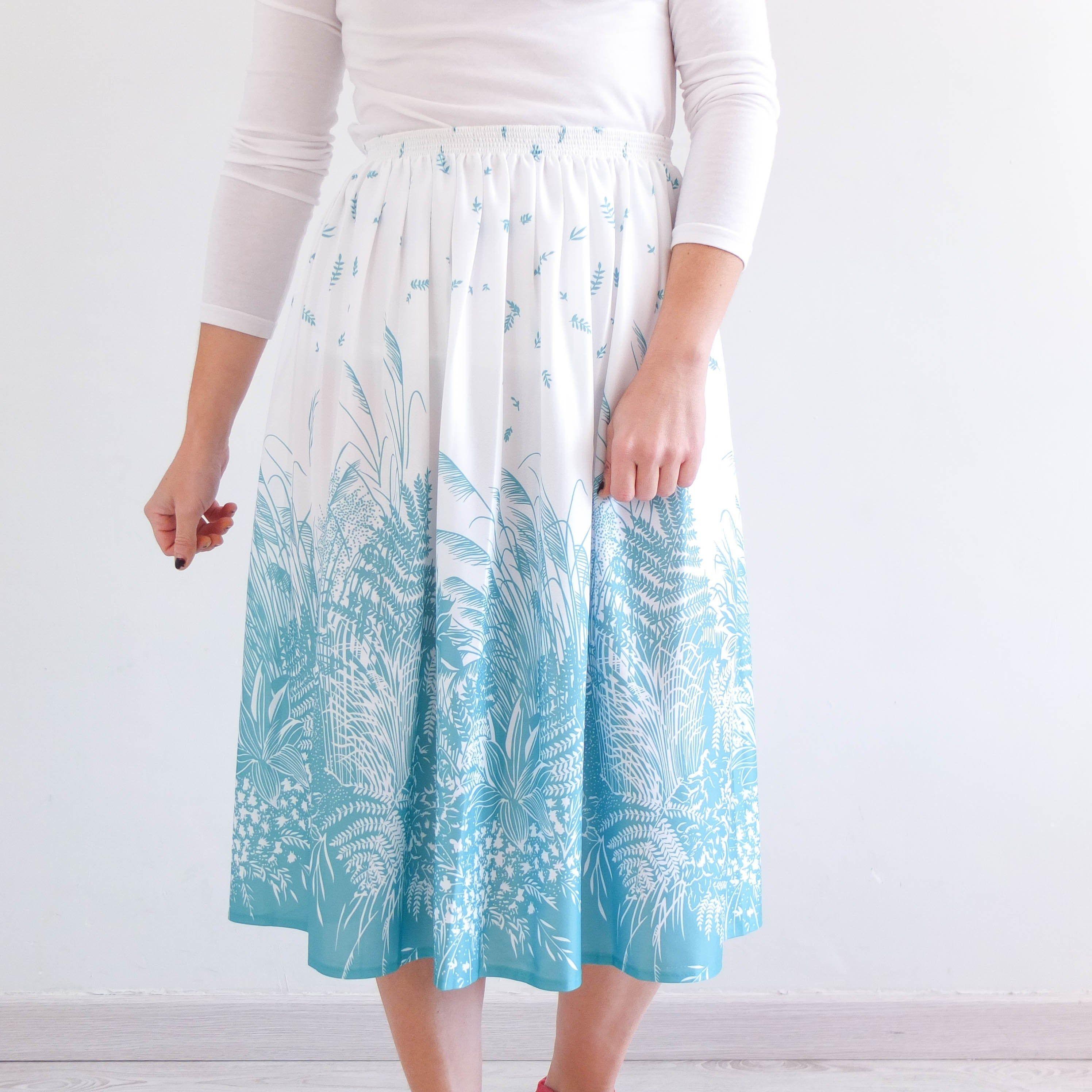 Aqua Green Floral skirts