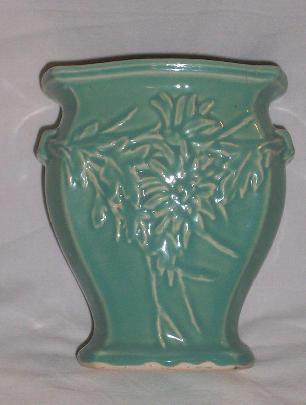 Vintage Mccoy 291 Glossy Aqua Blue Green Flowers Leaves Vase