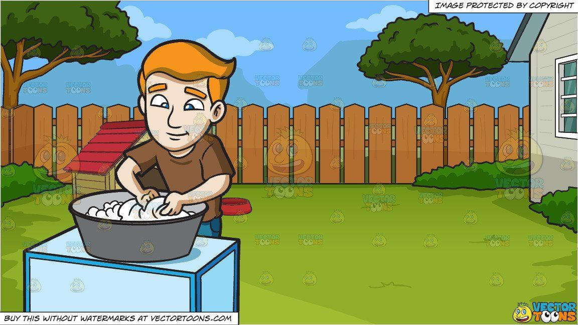 A Man Scrubbing The Clothes That He Is Washing And A Dog House In